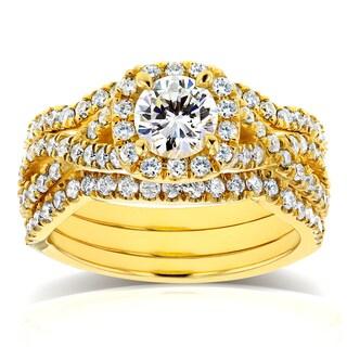 Annello by Kobelli 14k Yellow Gold 1 2/5ct TDW Diamond Crossover Halo 3 Ring Bridal Set (HI, I1-I2)