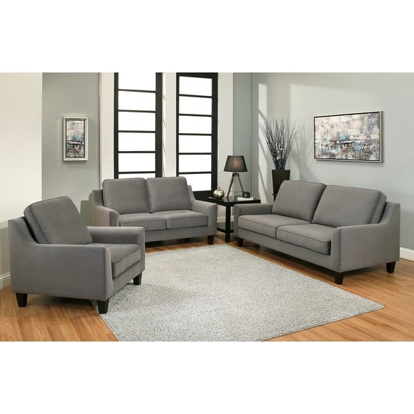 Shop Abbyson Jackson Grey Microsuede 3 Piece Sofa