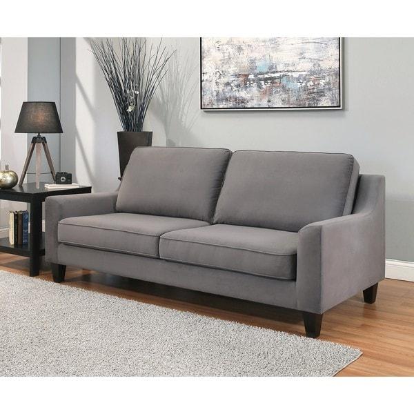 Abbyson Jackson Grey Microsuede Sofa Free Shipping Today 13343810