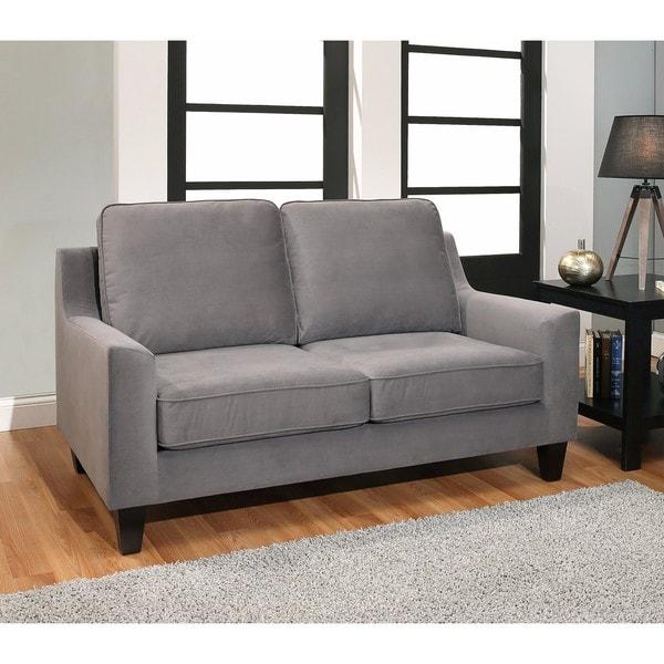 Shop Abbyson Jackson Grey Fabric Loveseat Free Shipping