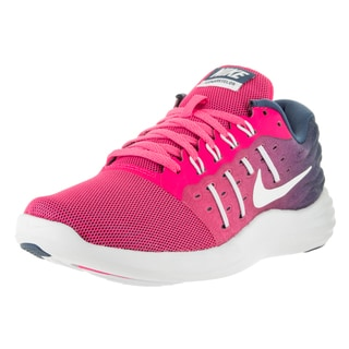 Nike Women's 'Lunarstelos' Pink Blast and White Ocean Fog Plastic Running Shoes