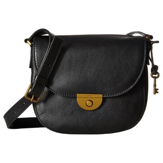 Fossil Pebbled Black Leather Emi Saddle Handbag