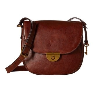 Fossil Emi Pebbled Brown Leather Saddle Handbag
