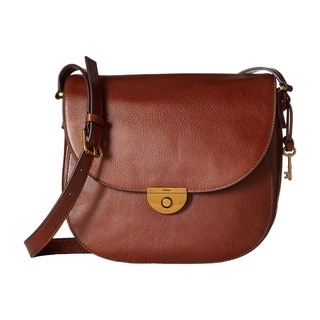 Fossil Emi Brown Leather Large Saddle Handbag