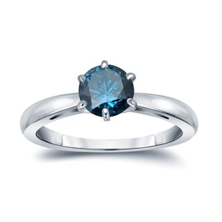 Auriya 14k Gold 1ct TDW 6-Prong Round Cut Blue Diamond Solitaire Engagement Ring (Blue, SI2-SI3)