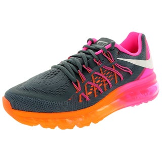 Nike Women's Air Max 2015 Charcoal, Pink, Orange, and White Classic Plastic Running Shoes