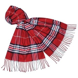 Cashmere Feel Red New England Plaid Scarves