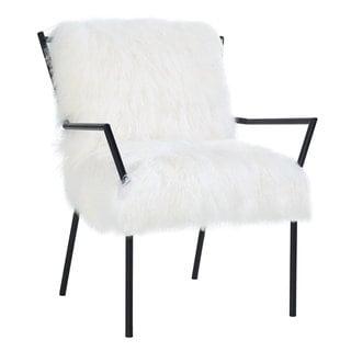 Lena White Sheepskin Chair with Black Metal Frame