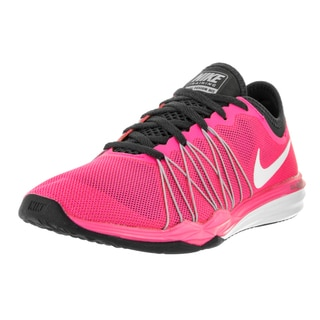 Nike Women's Dual Fusion Tr Hit Pink Blast, White, and Black Plastic Training Shoes
