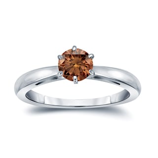 Auriya 14k Gold 1/4ct TDW 6-Prong Round Cut Brown Diamond Solitaire Engagement Ring (Brown, SI1-SI2)