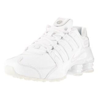 Nike Women's Shox NZ White/White/Blue Tint/White Leather Running Shoe