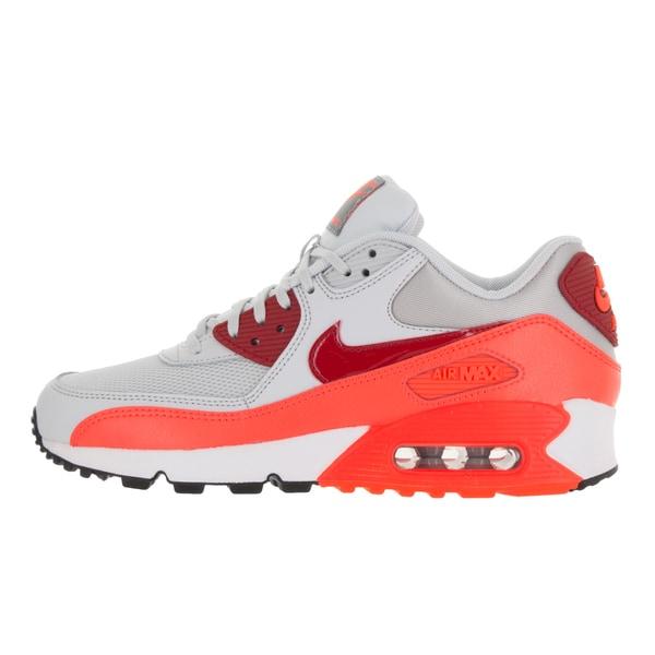 Shop Nike Women's Air Max 90 Essential Pure PlatinumGym Red