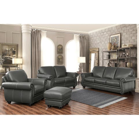 Abbyson Kidy Grey Top Grain Leather 4 Piece Living Room Set