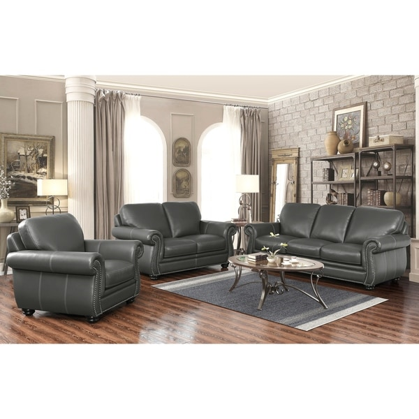 Abbyson Kassidy Grey Top Grain Leather 3 Piece Living Room Set ...