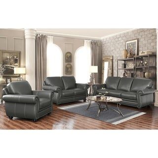 Abbyson Kassidy Grey Top Grain Leather Sofa, Loveseat, and Armchair