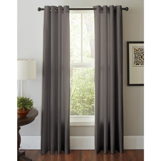 Pointehaven Cotton Solid-color Grommet Window Curtain Panel Pair