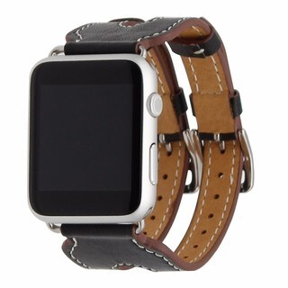 iPM Leather Double Buckle Cuff Replacement Band for Apple Watch