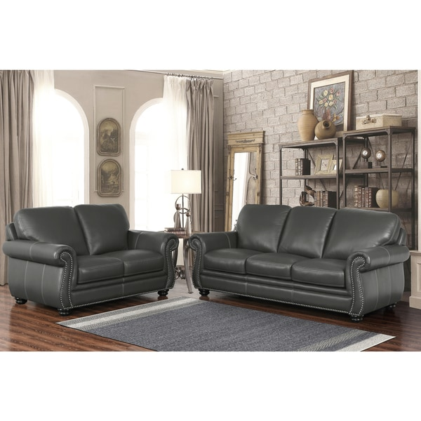Abbyson Kassidy Grey Top Grain Leather 2 Piece Living Room