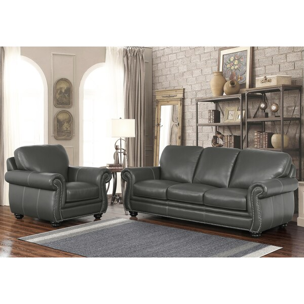 Shop Abbyson Kassidy Grey Top Grain Leather 2 Piece Living Room Set On Sale Free Shipping