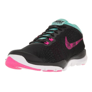 Nike Women's Flex Supreme Tr 4 BTS Black, Pink, Turquoise, and White Plastic Training Shoes