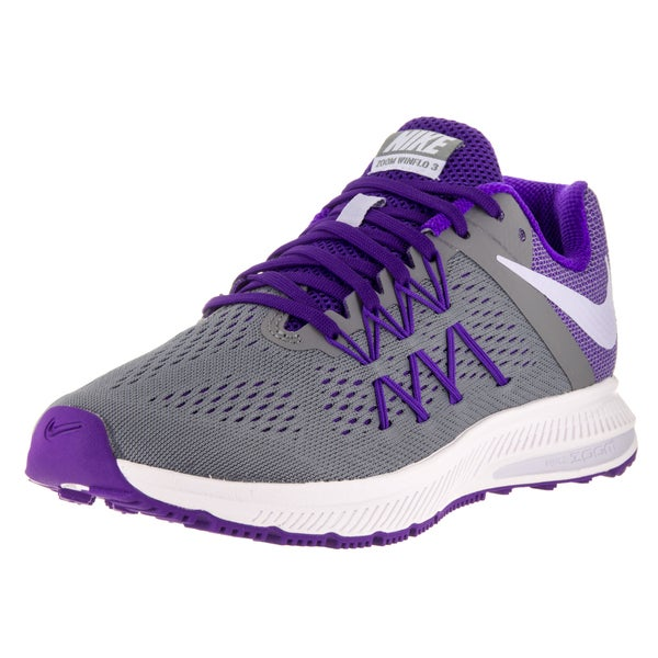 purchase cheap a7df3 66ee1 Shop Nike Women's Zoom Winflo 3 Grey, Purple, and White ...