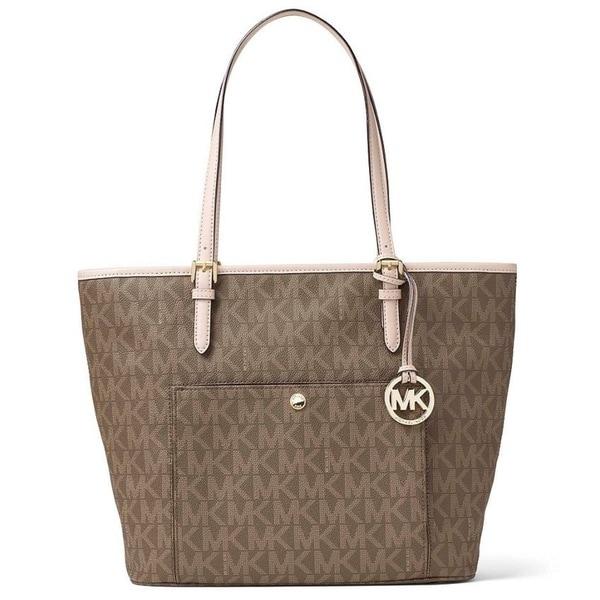 2c45174a9e5f Michael Kors Jet Set Mocha Leather Large Top-zip Snap-pocket Tote Bag