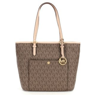 Michael Kors Jet Set Mocha Leather Large Top-zip Snap-pocket Tote Bag