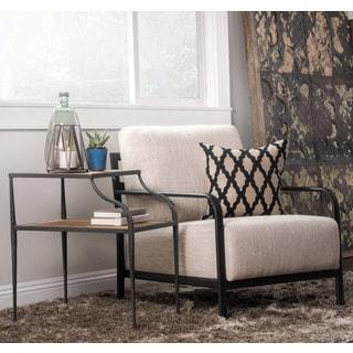 Kosas Home Ramona Iron and Natural Linen and Cotton Blend Lounge Chair