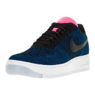 Nike Women's AF1 Flyknit Black and Blue Fabric Casual Shoes