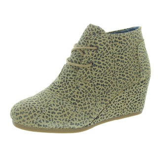 Toms Women's Desert Wedge Cheetah Suede Casual Shoe