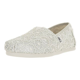 Toms Women's Classic Silver Canvas Crochet Shoes