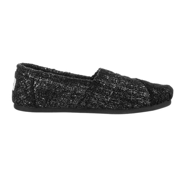 black glitter toms size 10