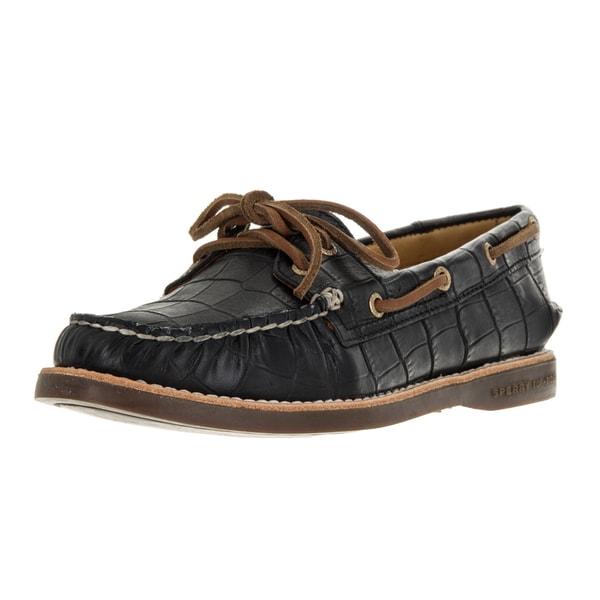 140c48b6332c Sperry Women  x27 s Authentic Original Black Gold Leather Top Sider Croc Boat  Shoe
