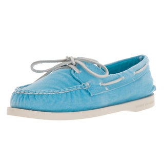 Sperry Women's Top-sider Washed Mint Canvas Authentic Original 2-Eye Boat Shoe