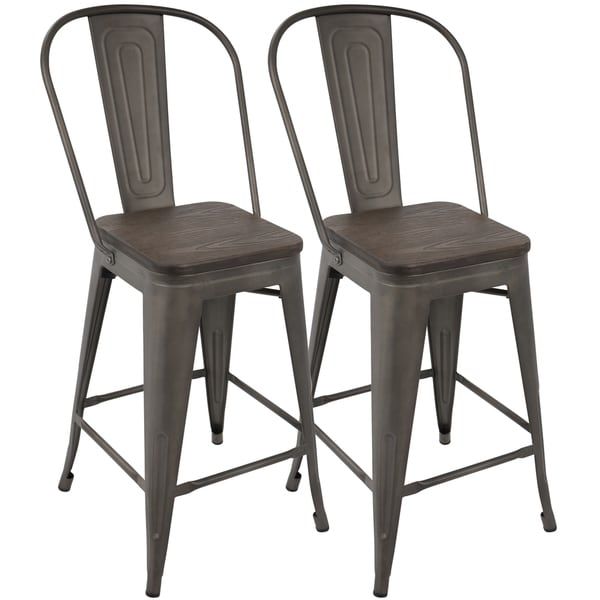 Oregon Industrial High Back 24 Inch Counter Stool Set Of