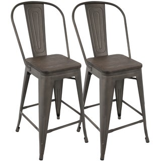 Oregon Industrial High Back 24-inch Counter Stool (Set of 2)