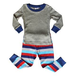 Blue and Gray Striped Baby and Toddler Pajama Set by Rocket Bug