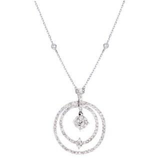 14K Two Tone Snowflake Diamond Pendant Necklace