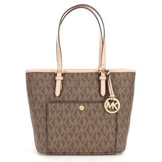 Michael Kors Jet Set Mocha Medium Top Zip Snap Pocket Tote Bag