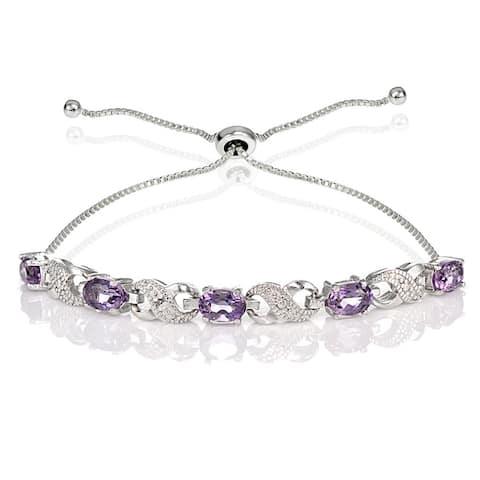 Glitzy Rocks Sterling Silver Gemstone and Diamond Accent Infinity Adjustable Bracelet