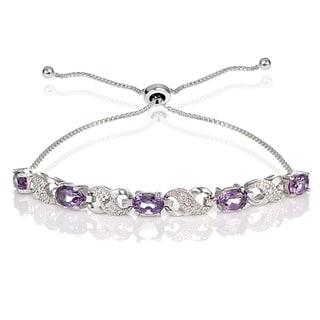 Link to Glitzy Rocks Sterling Silver Gemstone and Diamond Accent Infinity Adjustable Bracelet Similar Items in Bracelets