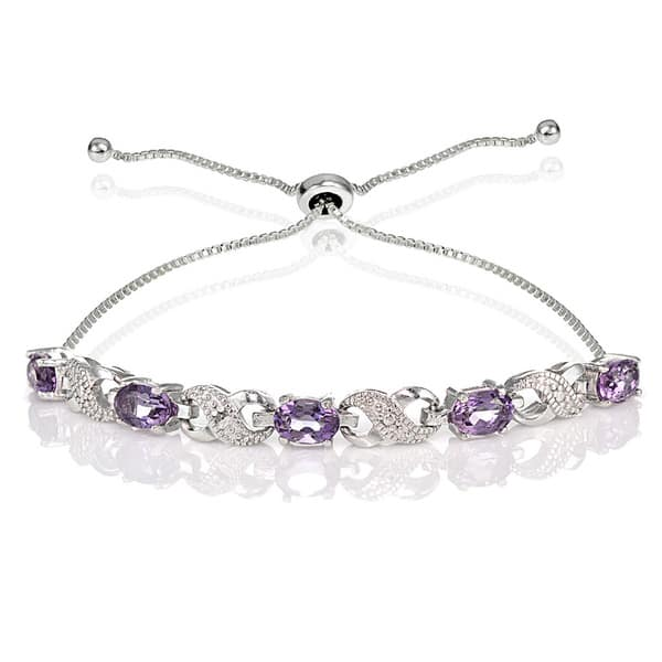 7e2062975 Glitzy Rocks Sterling Silver Gemstone and Diamond Accent Infinity  Adjustable Bracelet