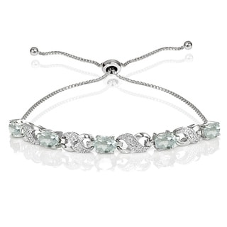Link to Glitzy Rocks Sterling Silver Aquamarine and Diamond Accent Infinity Adjustable Bracelet Similar Items in Bracelets
