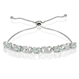 Glitzy Rocks Sterling Silver Aquamarine and Diamond Accent Infinity Adjustable Bracelet