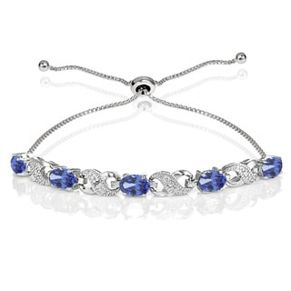 Link to Glitzy Rocks Sterling Silver Tanzanite and Diamond Accent Infinity Adjustable Bracelet Similar Items in Bracelets