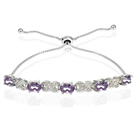 Glitzy Rocks Sterling Silver Gemstone and Diamond Accent Infinity Adjustable Bracelet