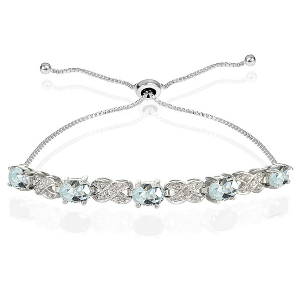 Glitzy Rocks Sterling Silver Aquamarine and Diamond Accent Infinity Adjustable Bracelet. Opens flyout.
