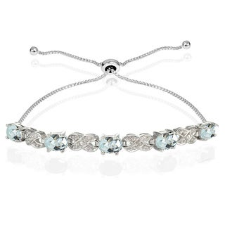 Glitzy Rocks Sterling Silver Aquamarine and Diamond Accent Infinity Adjustable Bracelet