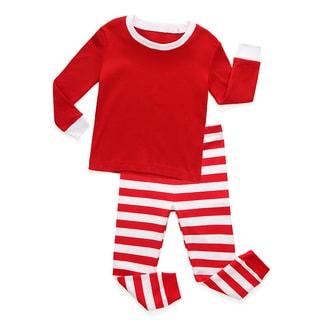Holiday Red and White Striped Baby and Toddler Pajama Set by Rocket Bug