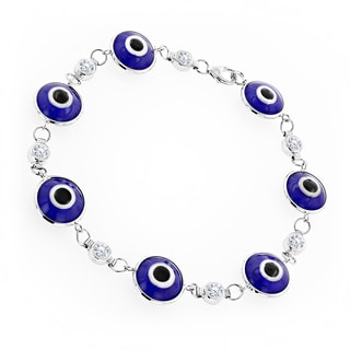 Luxurman 14K Gold 3/4ct TDW Diamond Evil Eye Blue Estate Bracelet (H-I, SI1-SI2)
